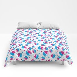 Pattern with Baby Feet  and Hearts in pink and blue color Comforters