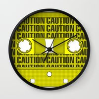 tape Wall Clocks featuring Caution Tape by Resistance