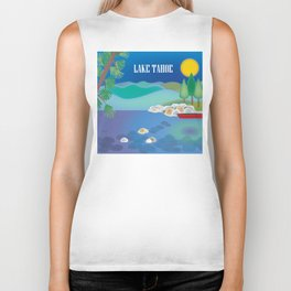 Lake Tahoe - Skyline Illustration by Loose Petals Biker Tank