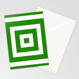 Abstract geometric pattern - green and white. Stationery Cards