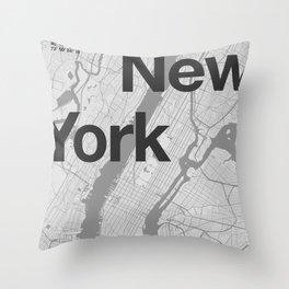 New York - Minimal Map Throw Pillow