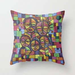 The Happy Family painting from Africa Throw Pillow