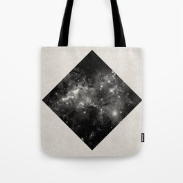 Space Diamond - Abstract, geometric space scene in black and white Tote Bag