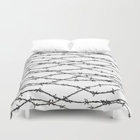 the wire Duvet Covers featuring Barbed Wire by Elena O'Neill