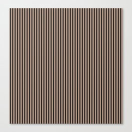 Warm Taupe and Black Stripes Canvas Print
