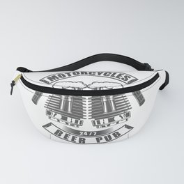 Beer pub emblem in vintage monochrome motorcycle style Fanny Pack