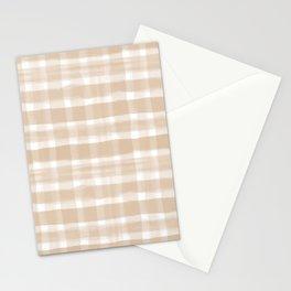 Ligonier Tan SW 7717 Watercolor Brushstroke Plaid Pattern on White Stationery Cards