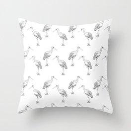 Stork pattern Throw Pillow