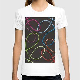 Colorful loops on black T-shirt