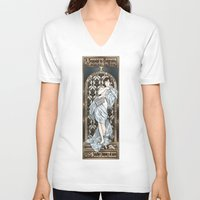 scandal V-neck T-shirts featuring A Scandal in Belgravia - Mucha Style by Alessia Pelonzi