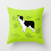 border collie Throw Pillows featuring Border Collie by Lindsay Beth