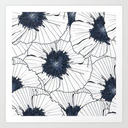 Navy and white poppies Art Print