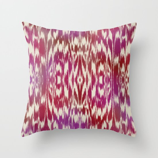 Ikat: Red, Pink Multi Throw Pillow