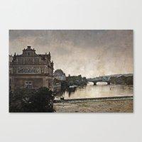 prague Canvas Prints featuring Prague by ALLY COXON