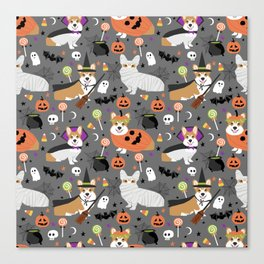Corgi halloween costume ghost mummy vampire howl-o-ween dog gifts Canvas Print