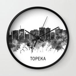 Topeka Kansas Skyline BW Wall Clock