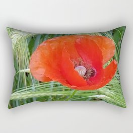 The Red Poppy in the Field Rectangular Pillow