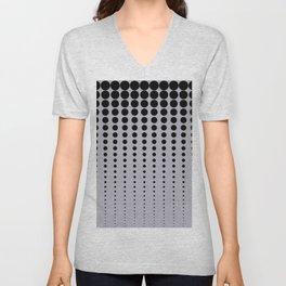 Reduced Black Polka Dots Pattern on Solid Pantone Lilac Gray Background Unisex V-Neck