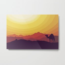 Camel in the desert by sunset, africa, silhoutte, travel Metal Print