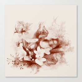 Sepia toned tropical flowers and butterflies Canvas Print