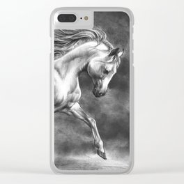 Running white horse - equine art Clear iPhone Case