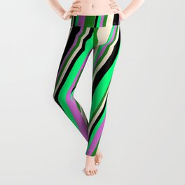 Vibrant Green, Orchid, Forest Green, Beige & Black Colored Striped Pattern Leggings
