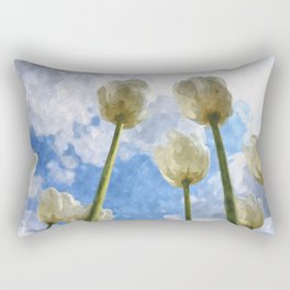 White tulips and cloudy sky digital watercolor Rectangular Pillow
