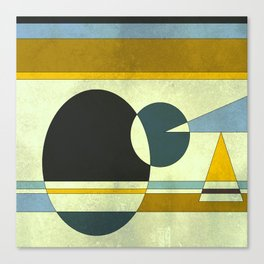 Sailing on the Sea, Geometric Gold and Blue Canvas Print