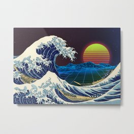 Synthwave Space #9: The Great Wave off Kanagawa Metal Print