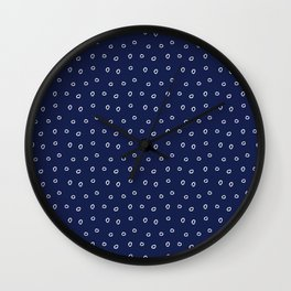 Navy blue background with white minimal hand drawn ring pattern Wall Clock