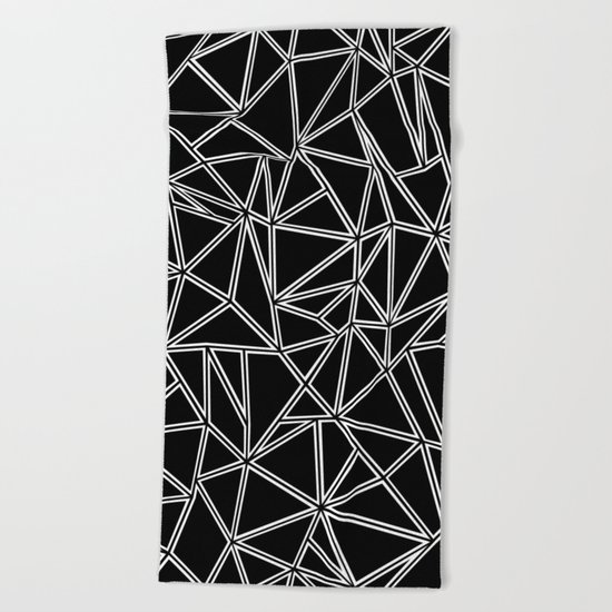 Abstract New White on Black Beach Towel