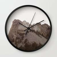 rushmore Wall Clocks featuring Grand Rushmore by Jacob Neal