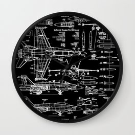 F-18 Blueprints // Black Wall Clock