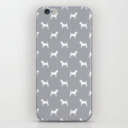 Chihuahua silhouette grey and white pet pattern dog pattern minimal chihuahuas iPhone Skin
