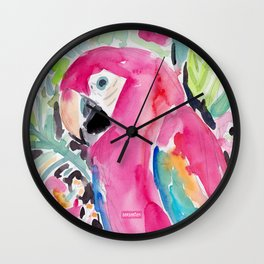 SCARLET THE MACAW Wall Clock