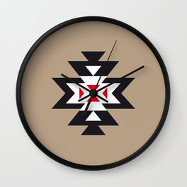 Navajo Aztec Pattern Black White Red on Light Brown Wall Clock