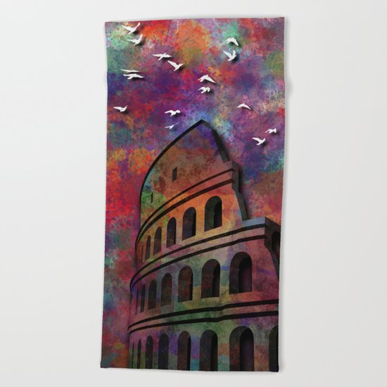 The Coliseum in Colors Beach Towel