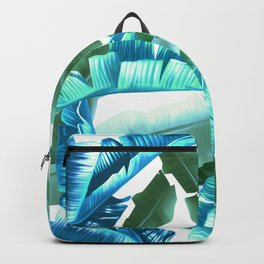 tropical banana leaves pattern turquoise Backpack