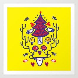 Xmas tree Yellow Land Art Print