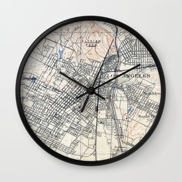 Vintage Map of Los Angeles California (1894) Wall Clock