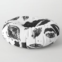Kisses All Over (Black & White) Floor Pillow