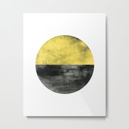 Circle art - Mustard Yellow Black - Modern Minimalist Metal Print