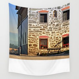 Traditional farm with beautiful front   architectural photography Wall Tapestry