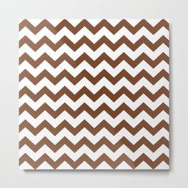 Chevron Texture (Brown & White) Metal Print