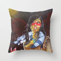 pocahontas Throw Pillows featuring pocahontas by marmaseo