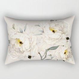 White Peonies Rectangular Pillow