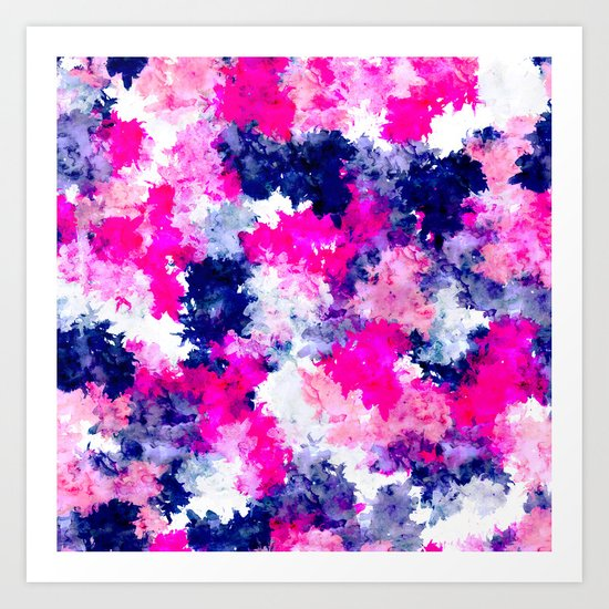 Hand painted pink purple watercolor abstract brushstrokes  Art Print