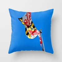 maryland Throw Pillows featuring Maryland Pride by Kelsey Hunt