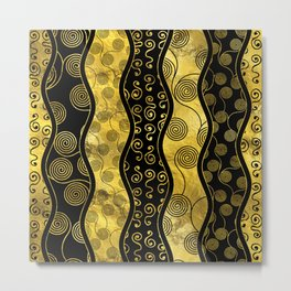 Luxury  Black and Gold African Pattern Metal Print