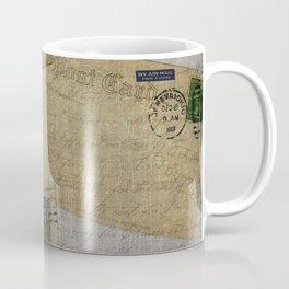 Vintage Postcards with Script Background Coffee Mug
